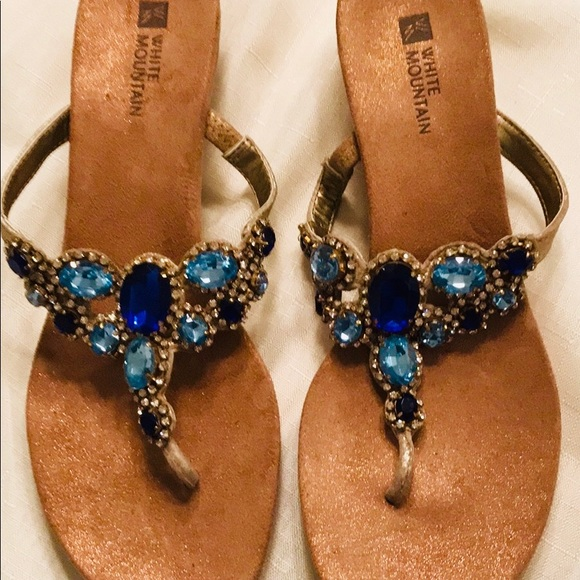 c0982a1be White Mountain STUNNING Jeweled Wedge Sandals